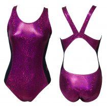 Női vastag pántos úszódressz-Pink Scales-03
