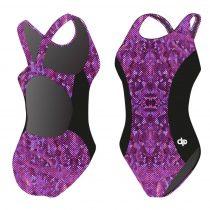 Női vastag pántos úszódressz - Purple dots