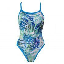 Női vékony pántos úszódressz-Leaves
